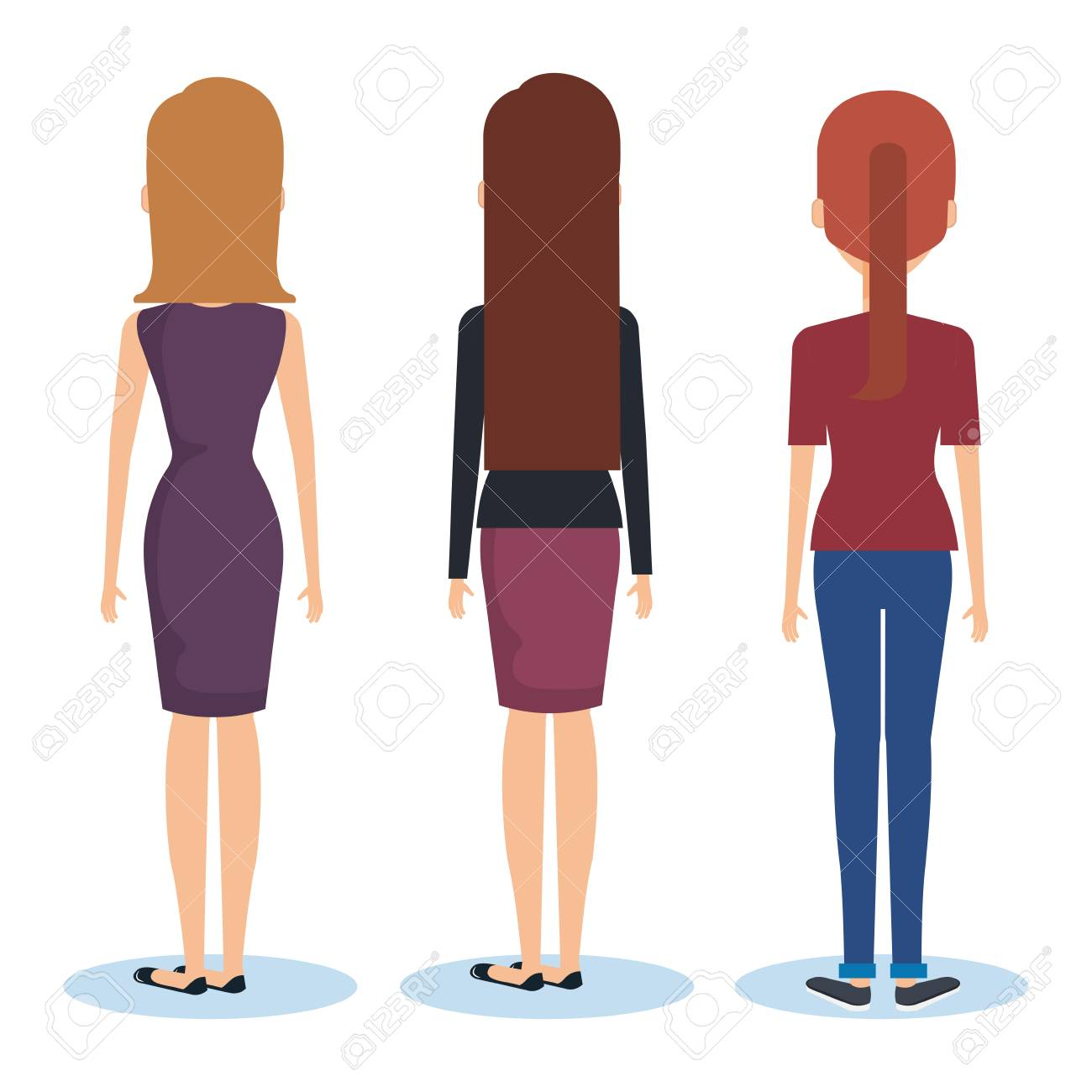 Group of young women facing the back vector illustration design.