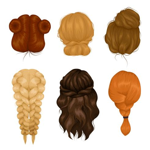 Women Hairstyle Back View Icons Collection.