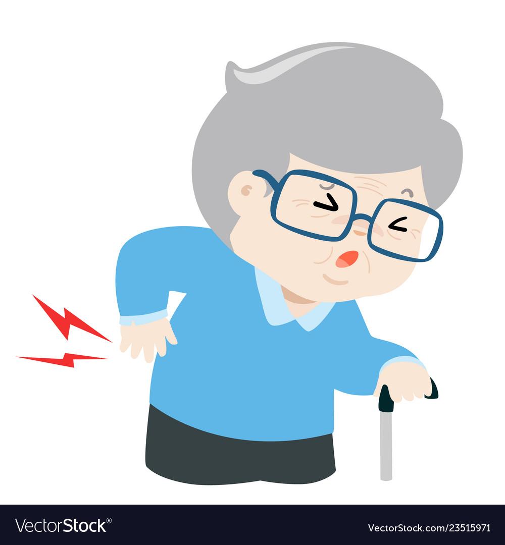Grandfather having back pain cartoon.