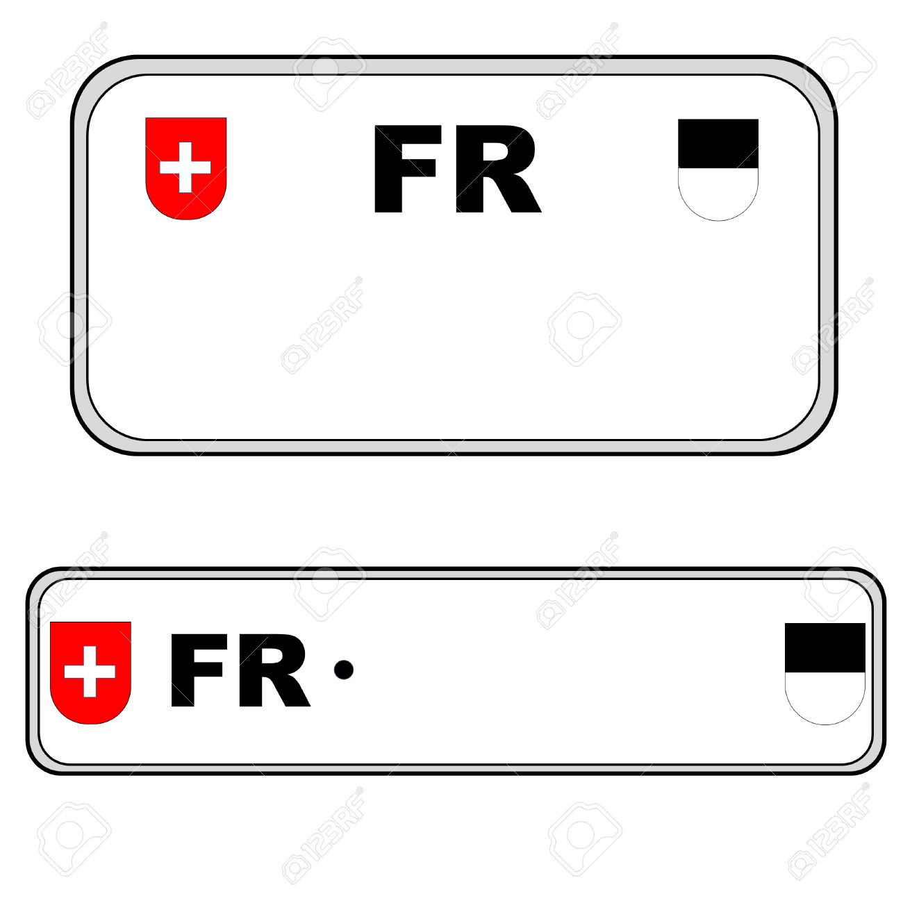 Fribourg Front And Back Plate Numbers, Switzerland, In White.