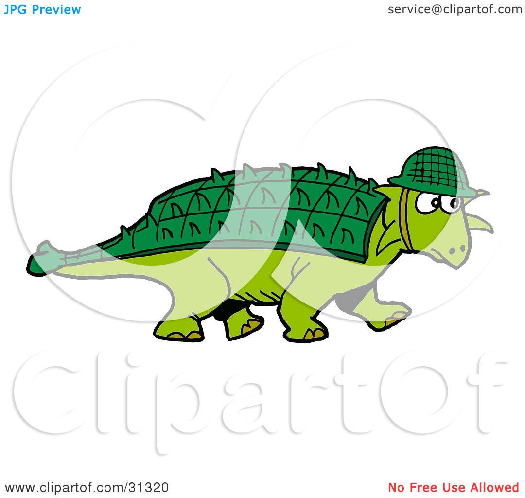 Clipart Illustration of a Green Armored Dinosaur With A Spiked.