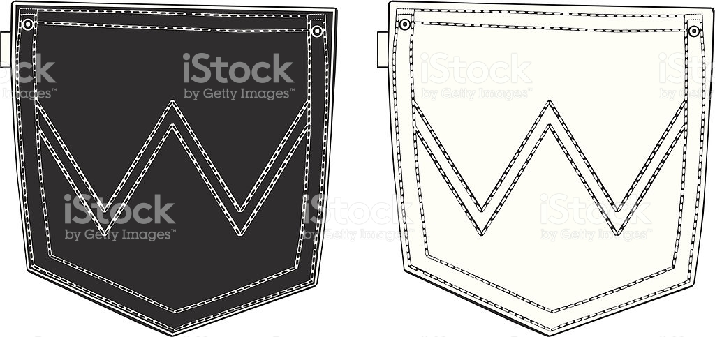 Black And White Back Pockets stock vector art 165922655.