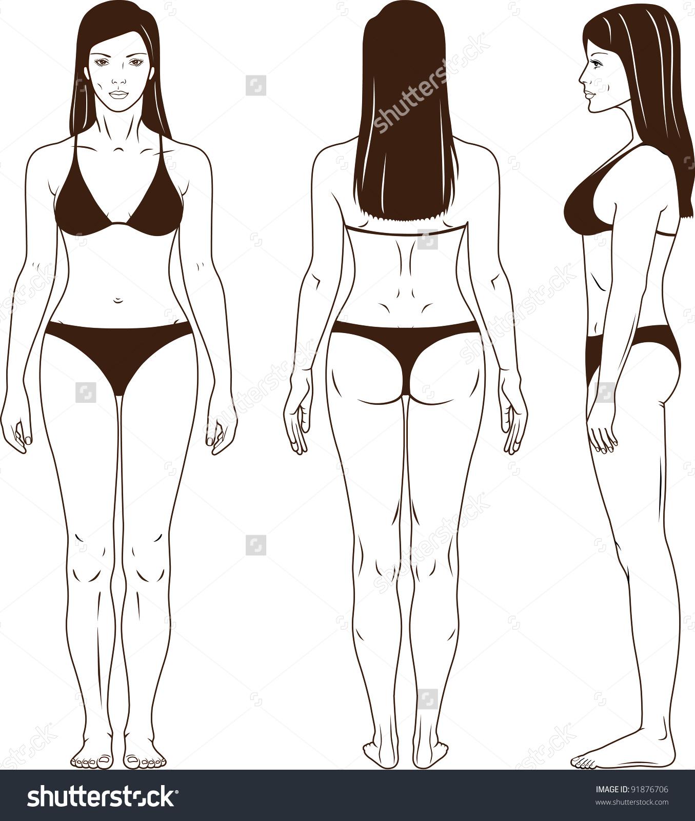 Woman back profile clipart.
