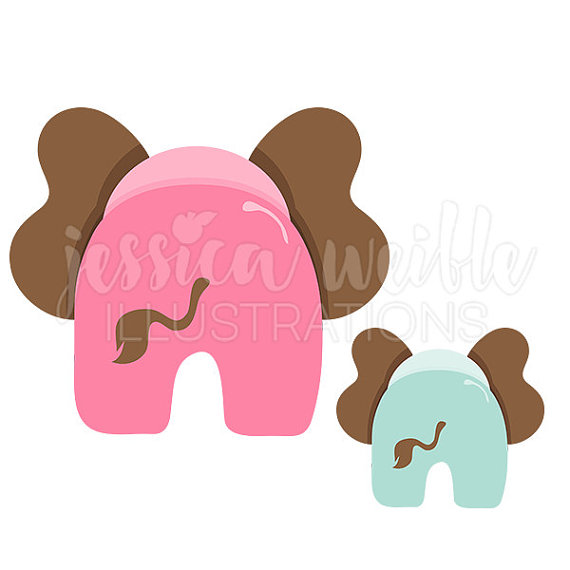 Little Elephant Behind Cute Digital Clipart, Elephant Clip art.