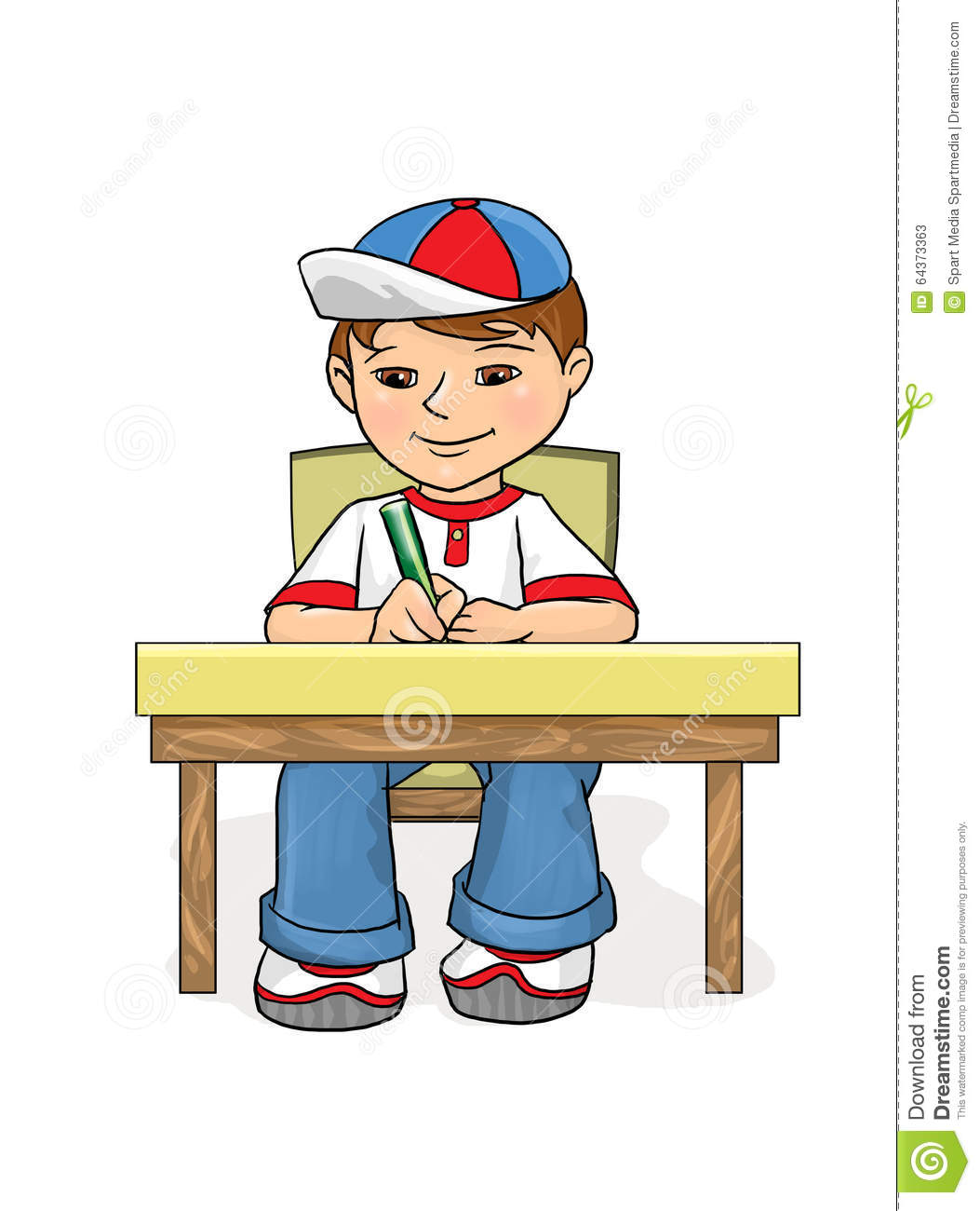 Examination Boy Sitting At A Table And Wrote Stock Illustration.
