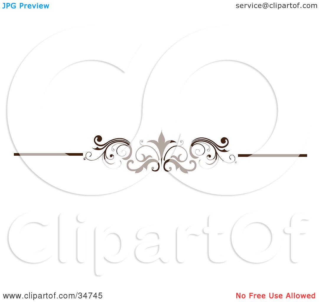 Clipart Illustration of an Elegant Brown Divider, Header Or Lower.