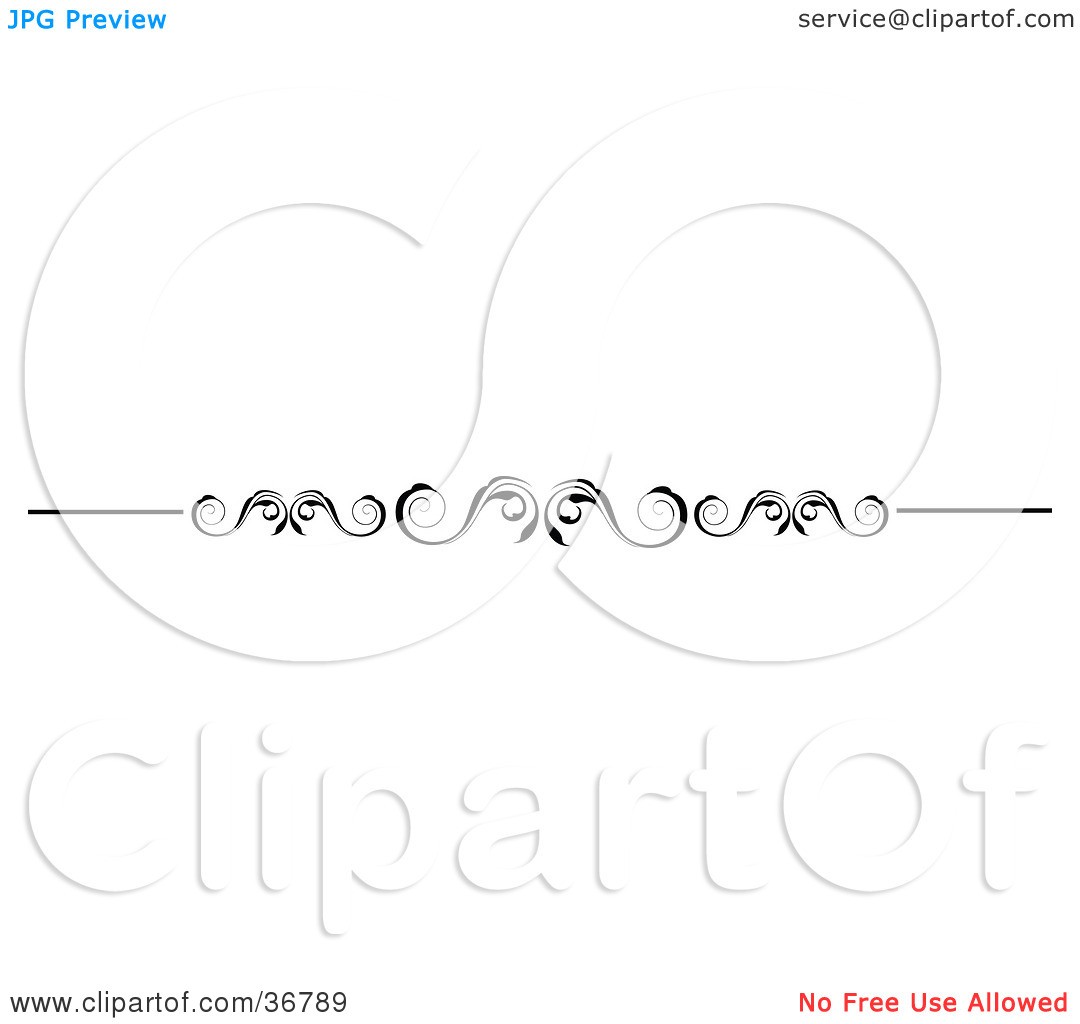 Clipart Illustration of a Curly Black And White Scroll Vine Lower.