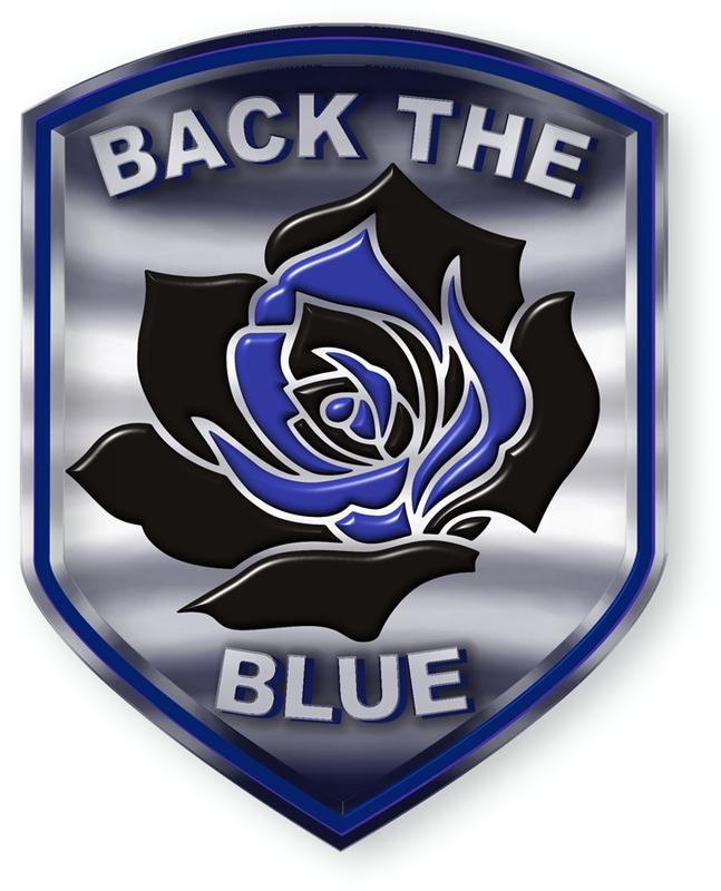 Donation Decal Back The Blue Thin Blue Line Rose Shield Reflective Decal.