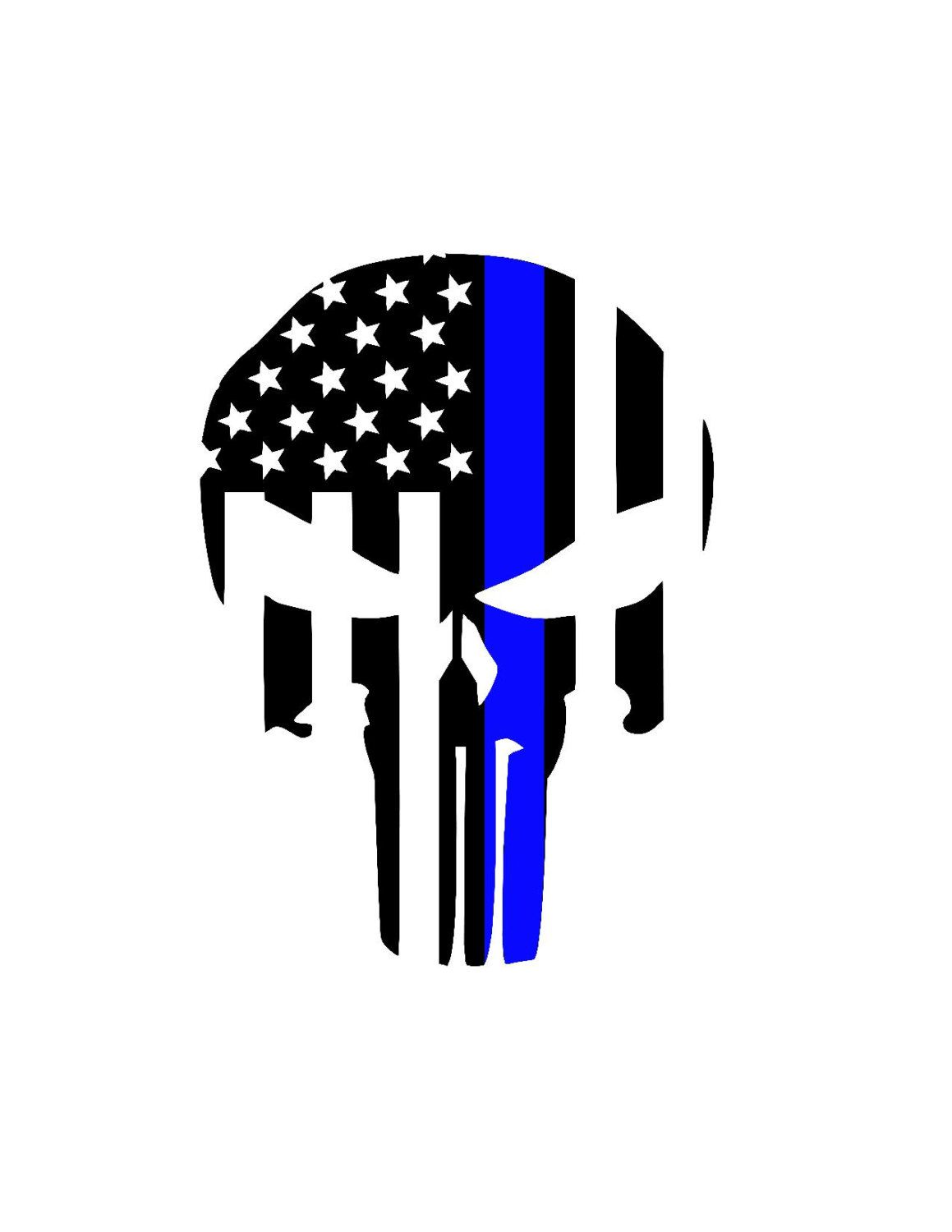 Punisher Skull Back The Blue Police Lives Matter Decal.