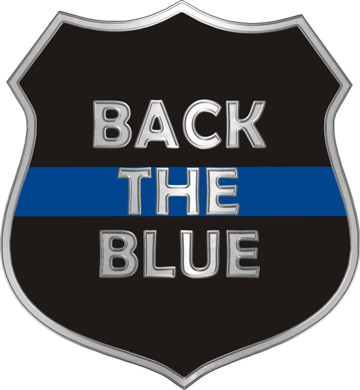 Donation Back The Blue Thin Blue Line Shield Decal.