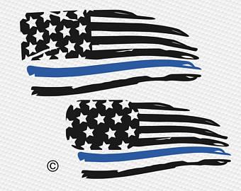 Thin Blue Line Flag Clipart.
