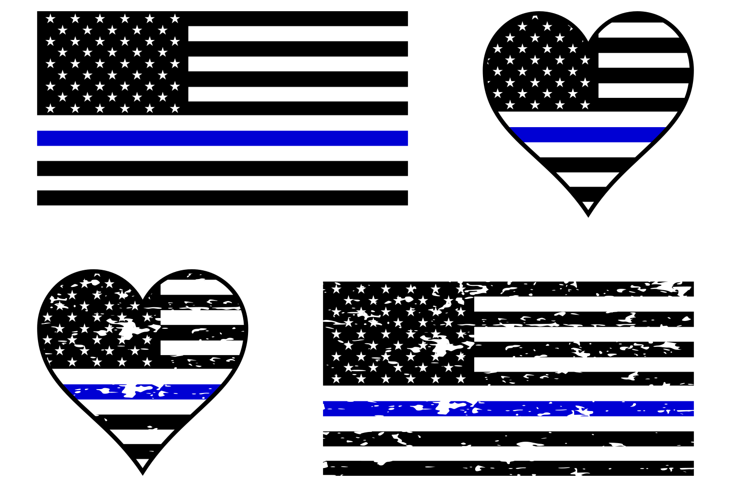 Police Blue Line Flag SVG.