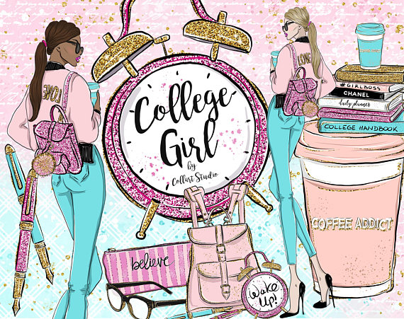 Planner Girl Clipart, College clipart, Fashion Illustration.