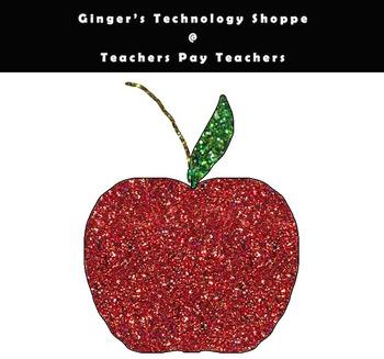 Glittery Apple Clipart * Back to School! * Freebie.