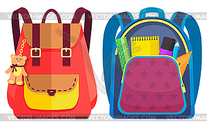 Colored School Backpack Back to School.