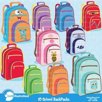 Backpack Clipart, Back to School Clipart, School Bag Clip art, AMB.