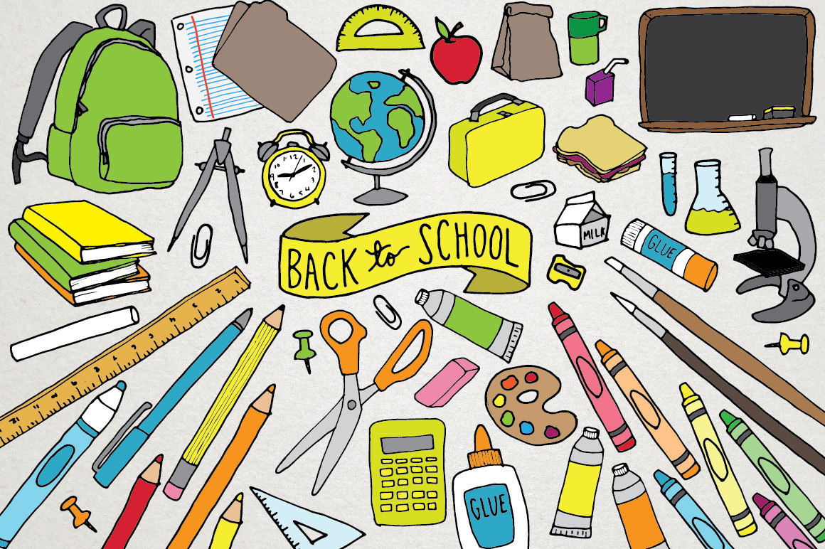 Back to School Clipart school supplies clipart backpack.