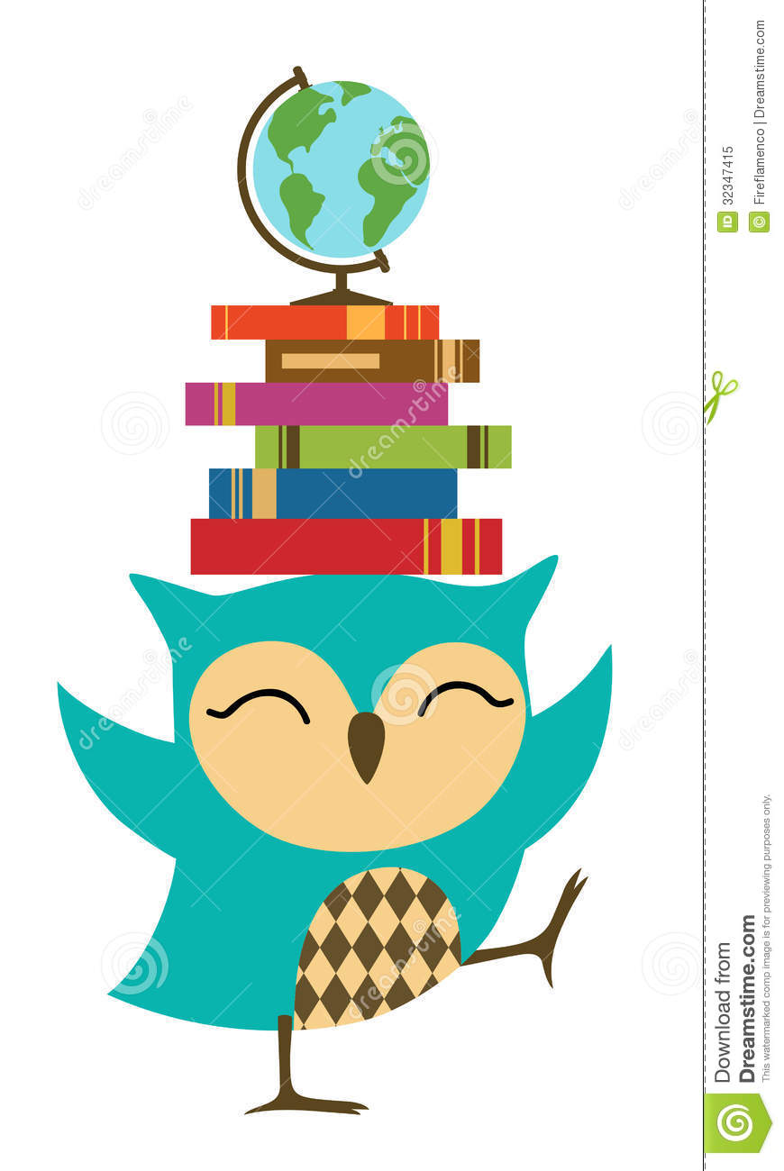 Cute School Owl On Books Clipart.