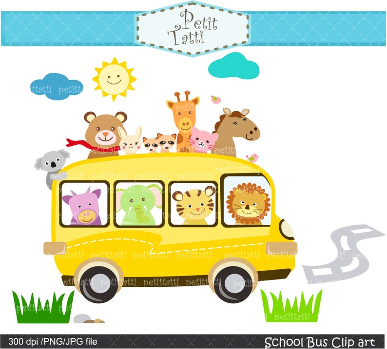 ON SALE school bus clipart, back to school clipart,instant download, field  trip clipart,cute animals clipart, clipart.