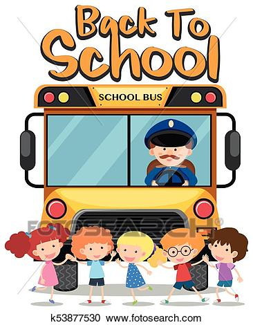 Back to school theme with kids and school bus Clipart.