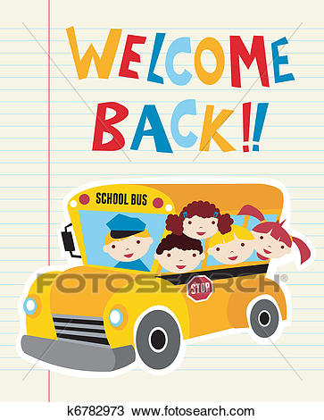 Welcome Back to School bus Clipart.