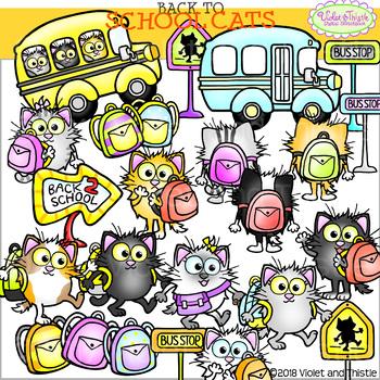 Cat Clipart BUNDLE School Clipart School Cats Clipart Back 2 School Bus  Clipart.