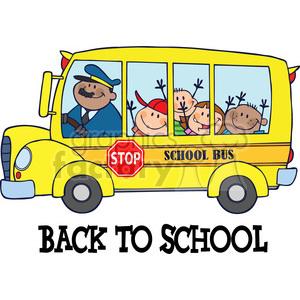 Happy Children On School Bus clipart. Royalty.