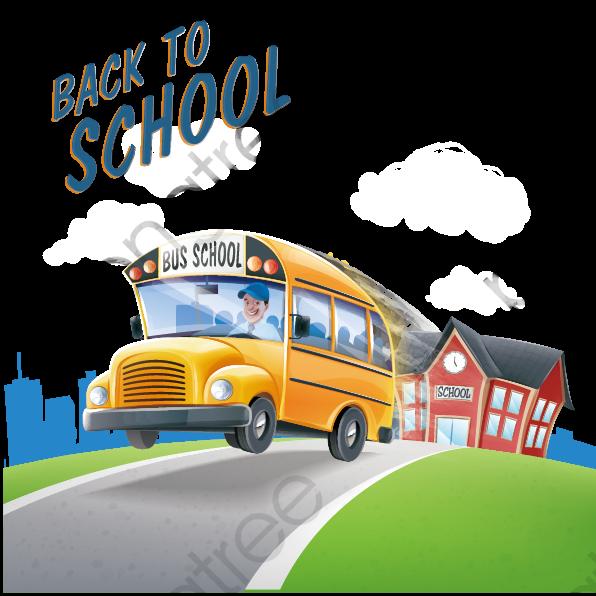 Vector School Bus Back To School, School Clipart, Bus Clipart.