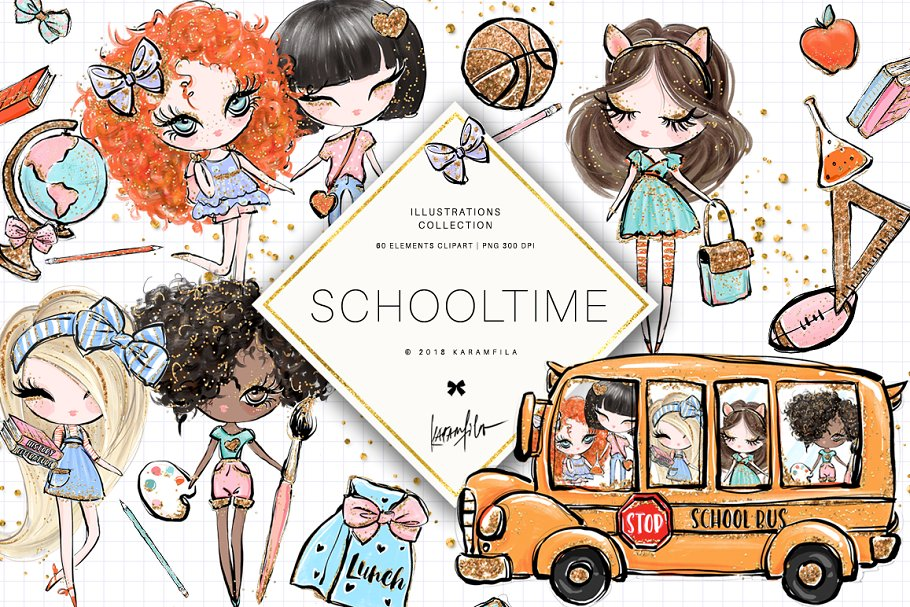 Back to School Clipart ~ Illustrations ~ Creative Market.