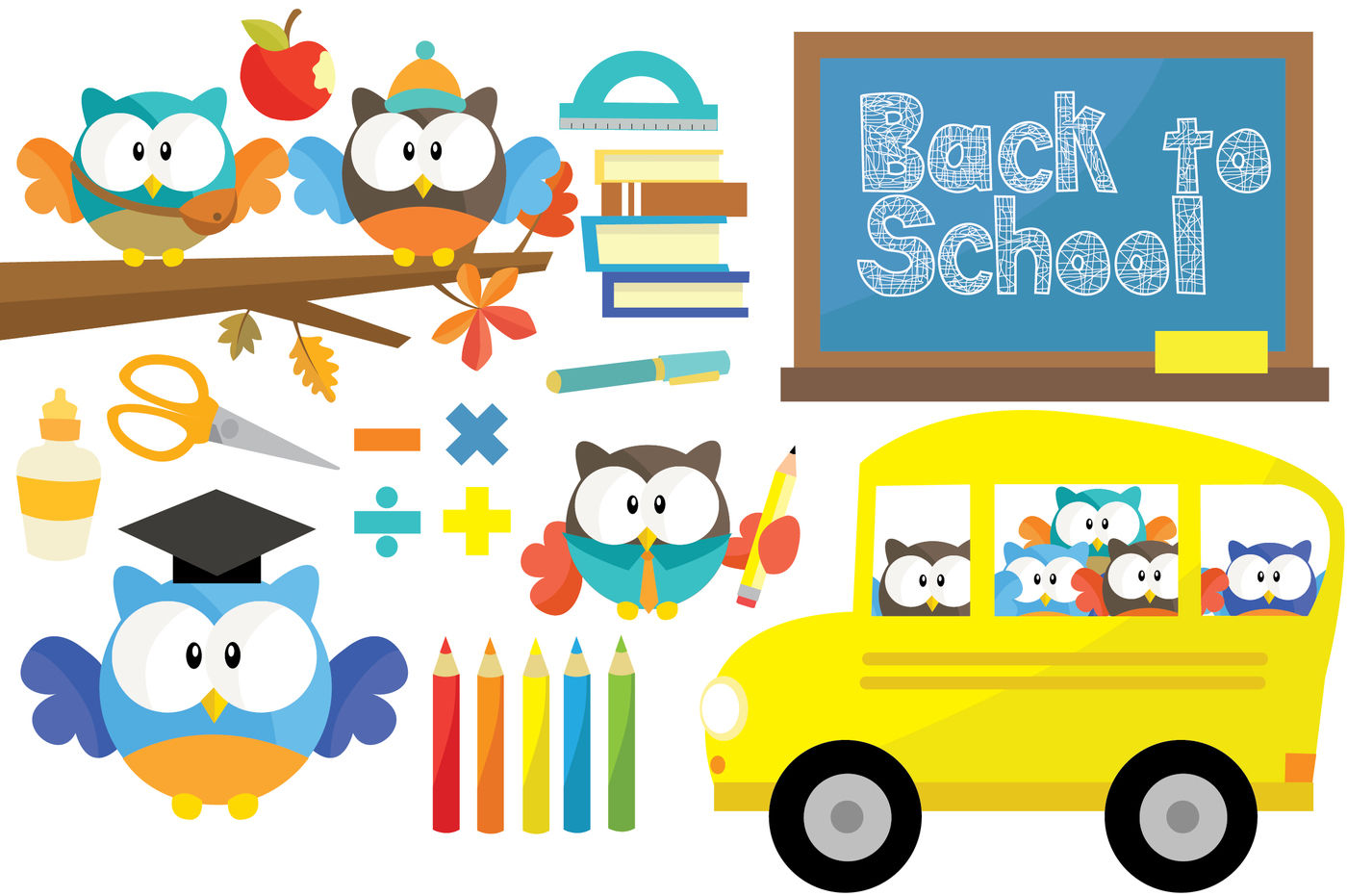 Owl Back To School Clipart Set By Julia Sunrain Graphics.