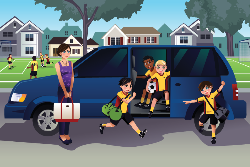 Mom Driving Kids To School Clipart.