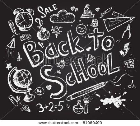 Vector Download » Back to school chalkboard sketch.