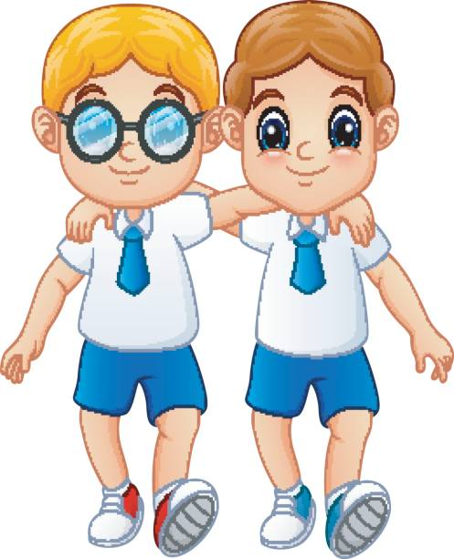 Kids Go To School Back To School Cute Cartoon Children Clip Art.