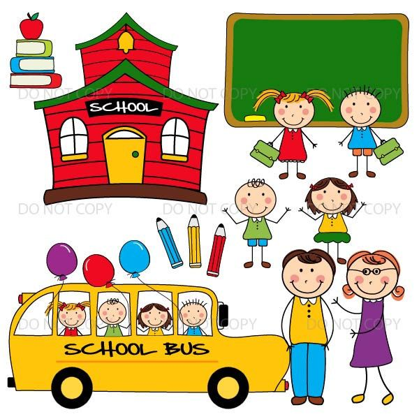 Back To School Clipart. School Clip Art. Office Supplies.