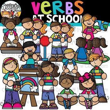 Verbs at School Clipart {School Clipart}.