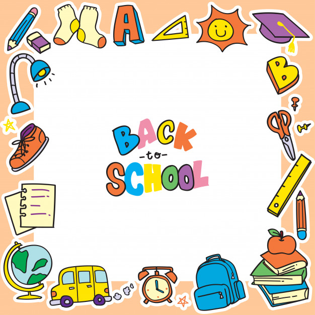 Back to school doodle background, clip art frame Vector.