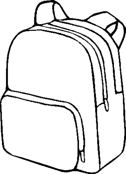 Free Printable Coloring PageBack to School, backpack, pencils.