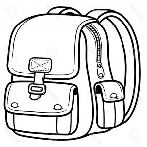 Best Kid With Backpack Clipart Black And White Layout.