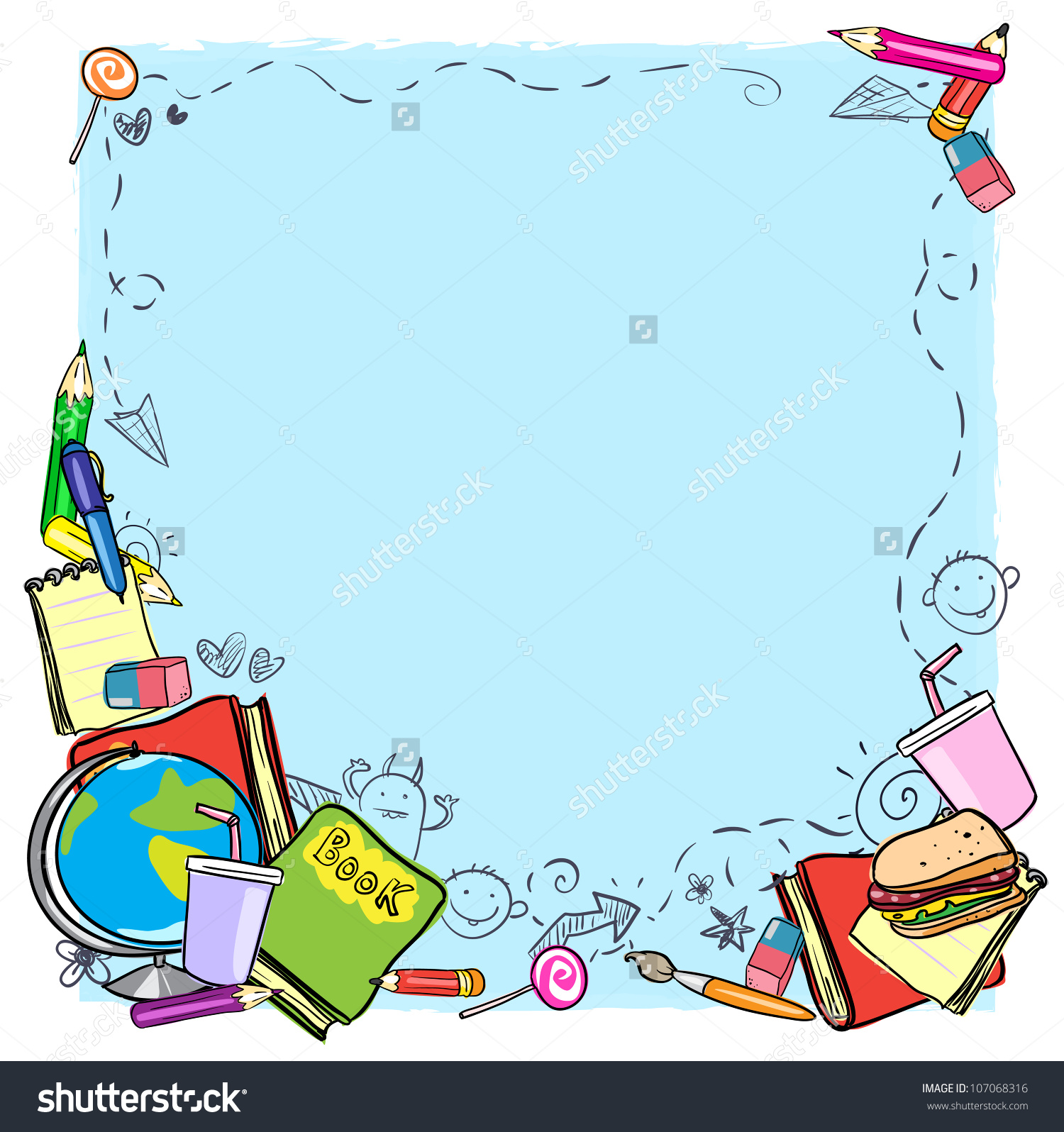 School Border Frame Space Text Back Stock Vector 107068316.