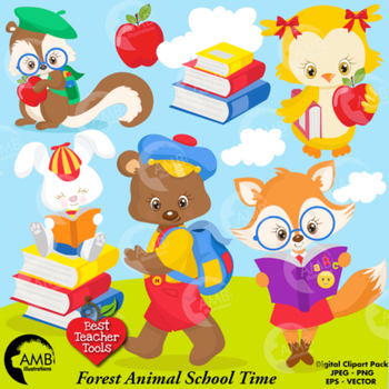 Forest Animal Clipart, Back to School ClipArt, AMB.