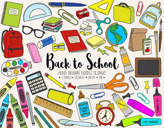 Back To School Clipart. Hand Drawn School Clip Art. Office.