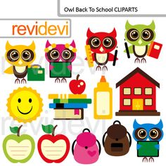 Back to School ClipArt Illustrations.