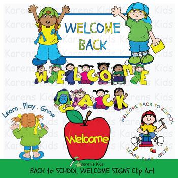 Clip Art BACK TO SCHOOL WELCOME SIGNS (Karen\'s Kids Clip Art).