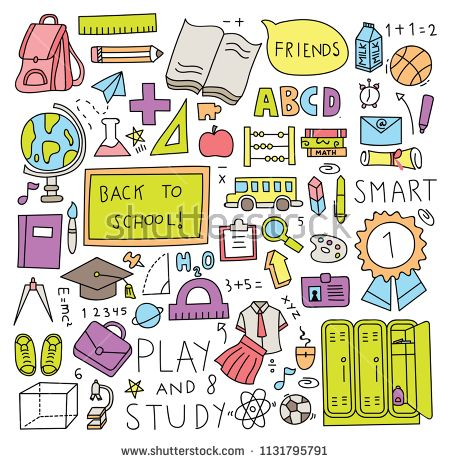 back to school doodle set vector illustration.