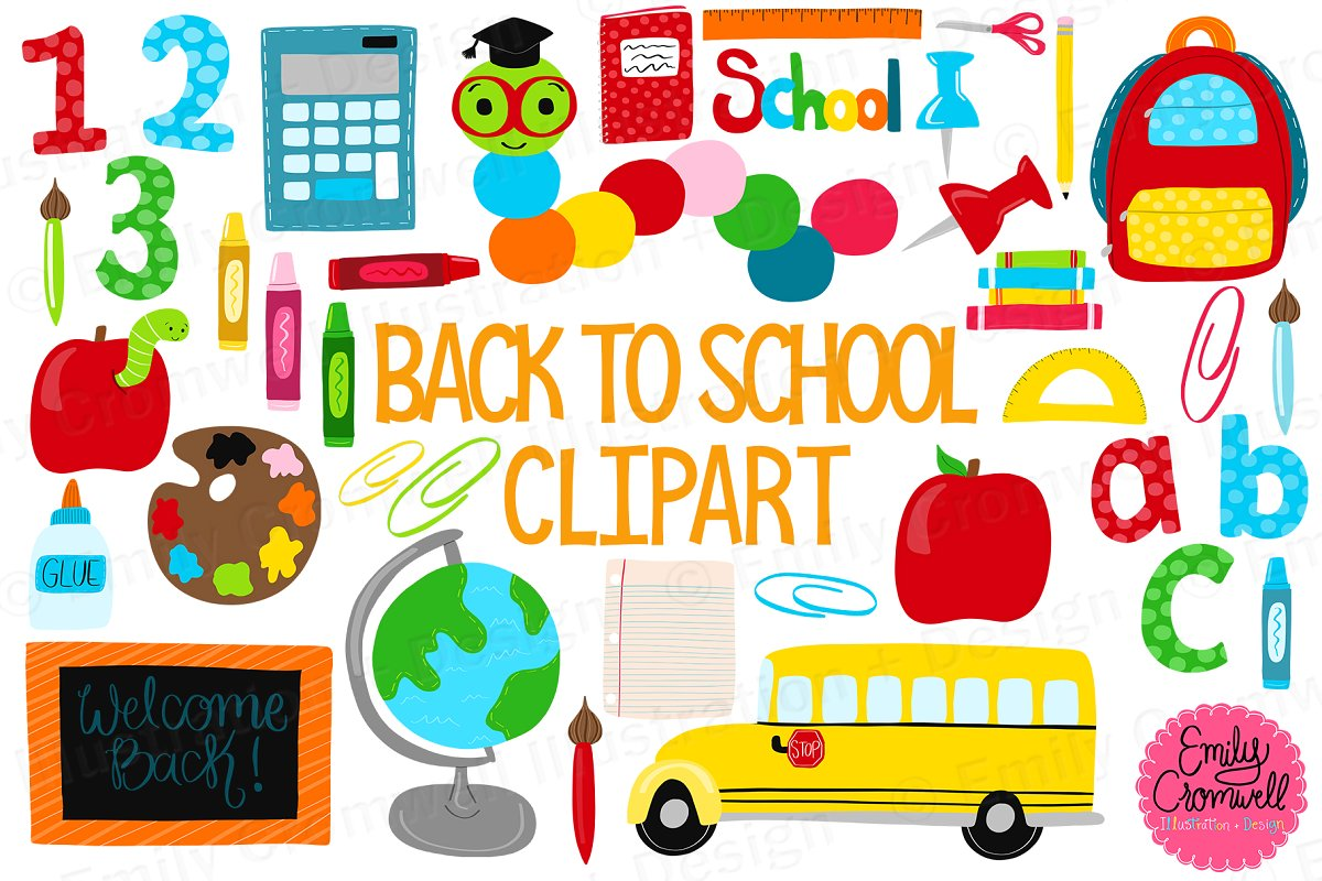 Back to School Digital Clipart ~ Illustrations ~ Creative Market.