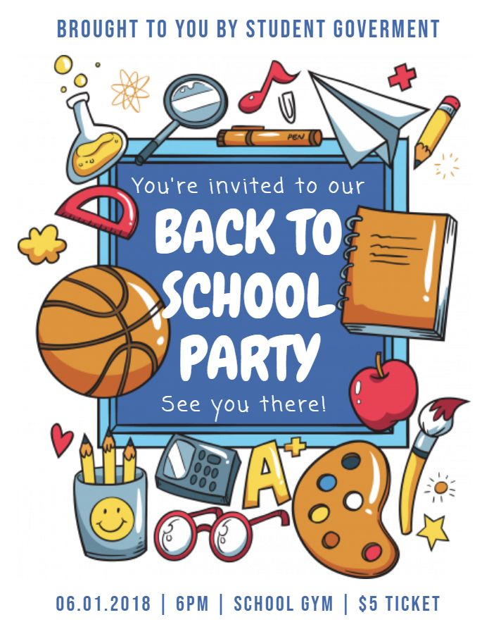 Creative back to school party flyer template printable.