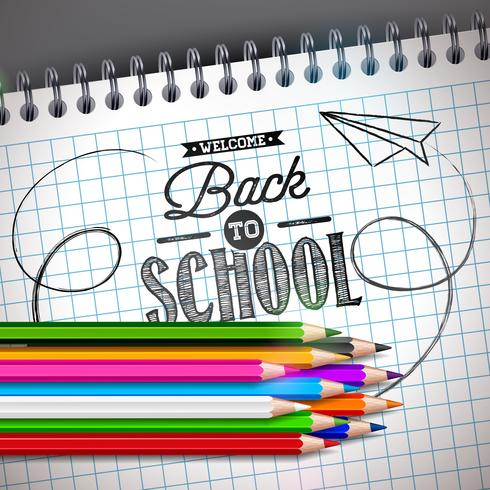 Back to school design with colorful pencil and notebook on.