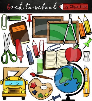 Back to school supplies FREE clipart, commercial use ok.