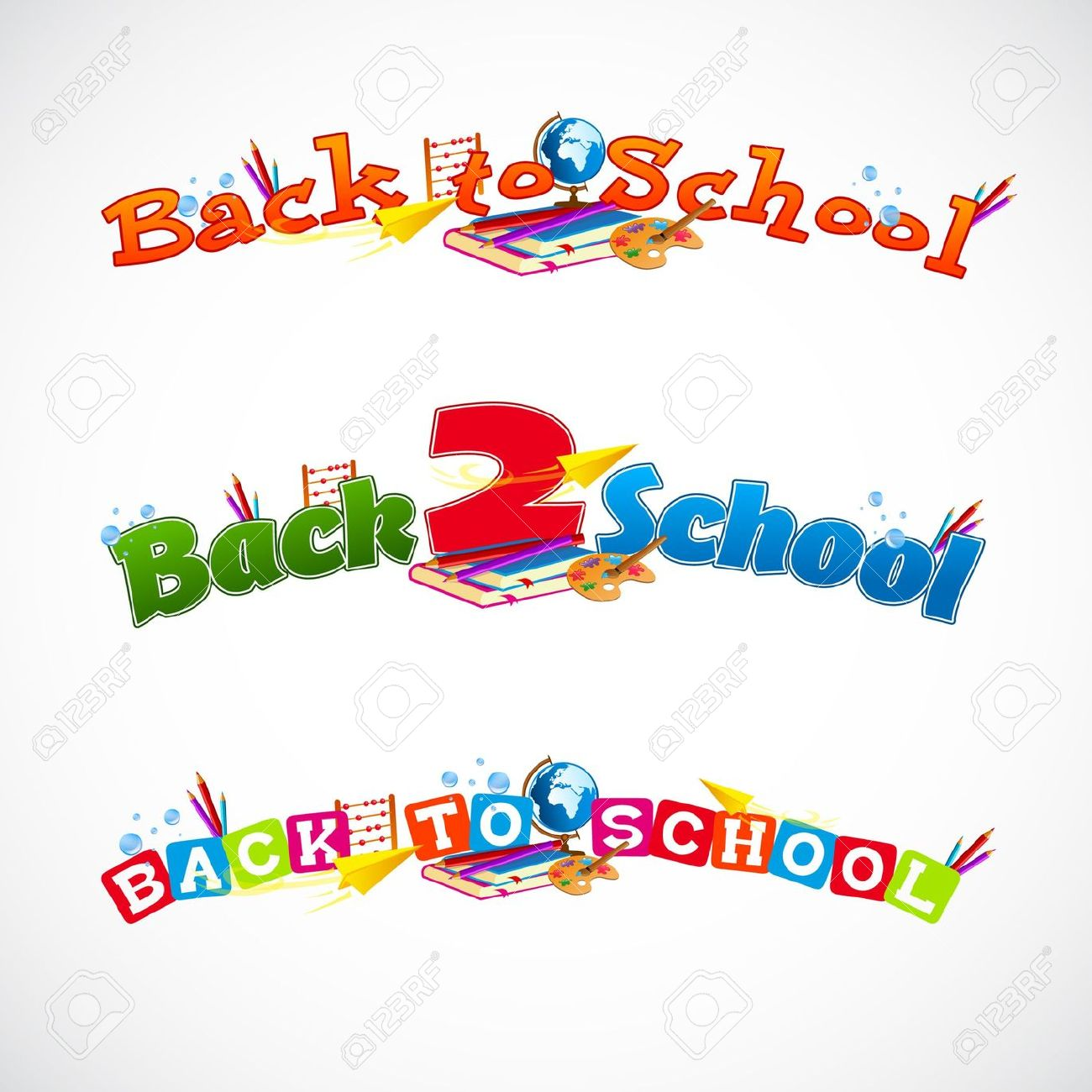 Back To School Typography Header Collection 1 Royalty Free.