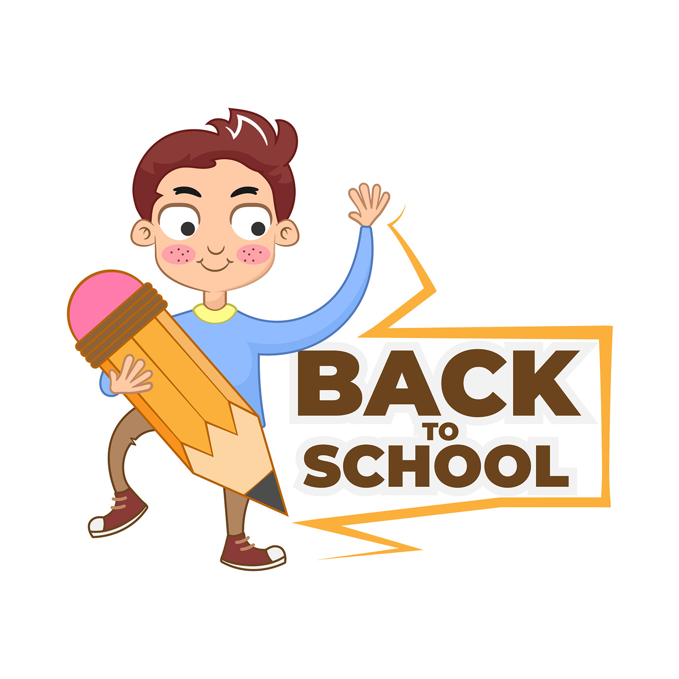 Back to School cartoon character holding pencil.